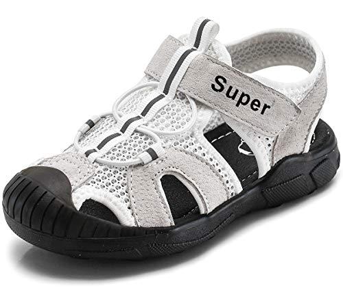 Gaatpot Kinder Sandalen Mädchen Jungen Sport Outdoorsandalen Geschlossene Strand Sandale Schuhe Outdoor Lauflernschuhe Sommer Weiß 24 EU/23 CN