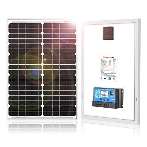 DOKIO 20 W monokristallines Solarpanel mit 10 A Regler zum Laden von 12 V Batterie für Wohnmobil, Wohnmobil, Wohnmobil, Boot, Yacht, Off-Gitter Home