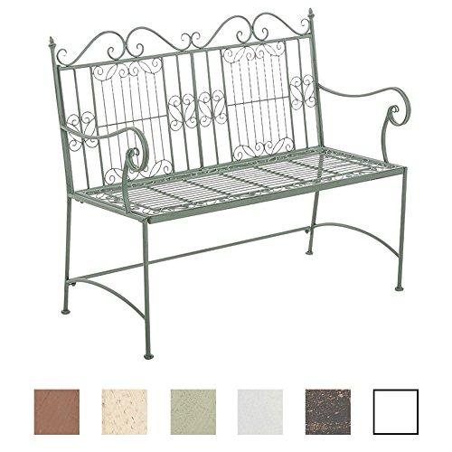 CLP Eisen-Gartenbank ADELE im Landhausstil, aus lackiertem Metall, 107 x 54 cm Antik Grün