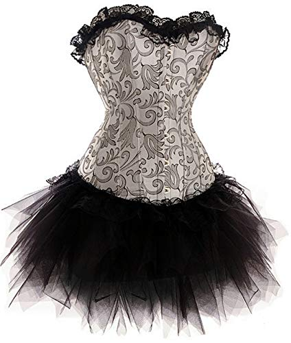 Forever Young Burlesque Moulin Rouge-Costume vestito, bustino Can Can, 8, 10, 12, 14 e 16 nero 44