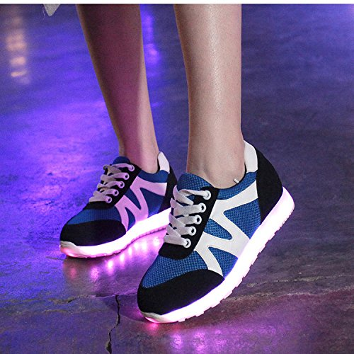 Oasap Femme Mode Sneakers USB Charger Couleurs LED Talons Bas Bleu