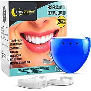 SleepDreamz® Zähneknirschen Mundschutz! Zwei verschiedene Knirscherschienen, wissenschaftlich entwickelt gegen Zähneknirschen, Bruxismus, CMD & Schnarchen – Marktführend Aufbissschienen, Zahnschiene, Zähne Schiene, Zahnschutz, Schnarchschiene & Schnarchen Stopper.