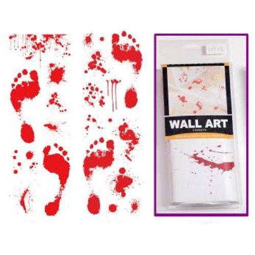 Generique - Blutige Spuren Fußabdrücke Sticker Halloween-Deko rot