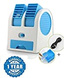 Raptas Mini Fan & Portable Dual Bladeless Small Air Conditioner Powered By Usb & Battery Use Of Car/Home/Office