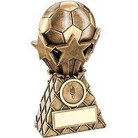 TrophyMaker UK Starburst - Premios de fútbol de la gama Wembley con efecto de latón con diseño de estrellas y fútbol, 7 pulgadas