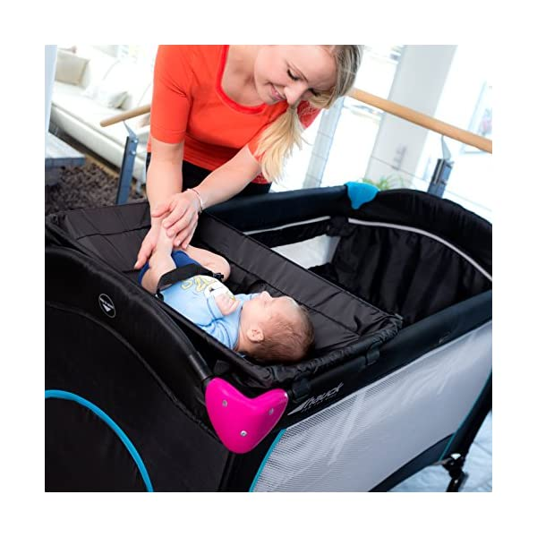 Hauck Sleep N Play Centre, 7-part Folding Travel Cot from Birth to 15 kg, Bassinet and Changing Top, Folding Mattress and Wheels, Side Opening, 120 x 60 cm, Multicolour Black Hauck Complete set - with bassinet, changing top, equipment bag, folding mattress, and transport bag, you will be fully equipped for all your travels with baby From birth - thanks to the new-born bassinet suitable to 9 kg, your baby sleep on a higher level with easy access; later, the bassinet is removed and the cot can be used up to 15 kg Mobility - with few actions only, this cot can be assembled and folded away compactly, making it very convenient for your next trip; thanks to wheels, you can also move it around in your house 8