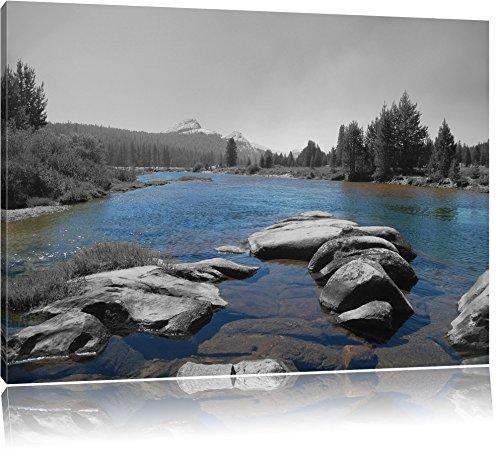 Tuolumne River, Yosemite National Park schwarz/weiß Format: 100x70 auf Leinwand, XXL riesige Bilder fertig gerahmt mit Keilrahmen, Kunstdruck auf Wandbild mit Rahmen, günstiger als Gemälde oder Ölbild, kein Poster oder Plakat -