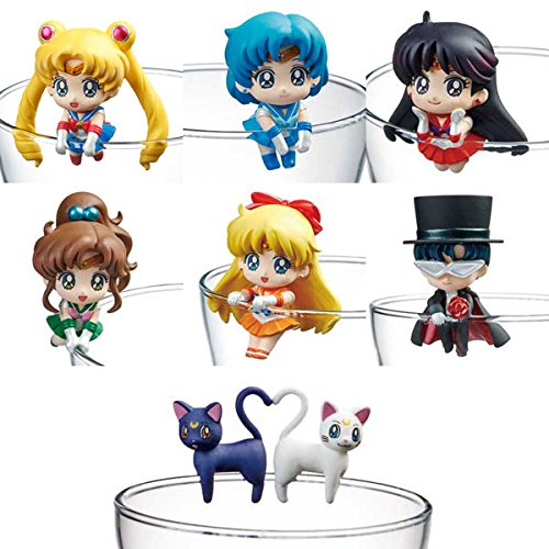 Set 8 figuritas Sailor Moon para decorar vasos
