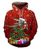 """EOWJEED Unisex Realistische 3D Druck Galaxy Pullover Kapuzen Sweatshirt Kapuzenpullis mit großen Taschen Größentabelle: Größe S: Schulter 19.7 """"/ 50cm Fehlschlag 42.5"""" / 108cm Hülse 26.4 """"/ 67cm Länge 27.2"""" / 69cm Größe M: Schulter 20.5 """"/ 52cm Fehls..."""