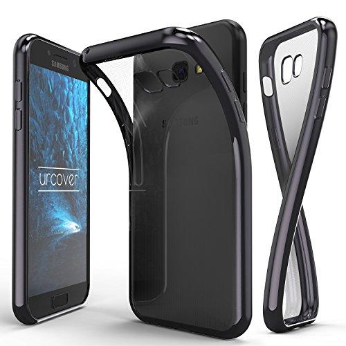 Urcover® Samsung Galaxy A3 (2017) Handyhülle Grau | TPU Silikon Schutzhülle durchsichtig | Spiegelrand Hülle Transparent | Slim Cover Tasche | dünne Schale | Back-Case flexibel | Smartphone Zubehör