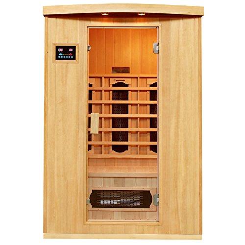 Artsauna Infrarotkabine Visby mit Dual Heizsystem | 2 Personen Kabine aus Hemlock Holz | 130 x 100 cm | Infrarotsauna Infrarot Wärmekabine