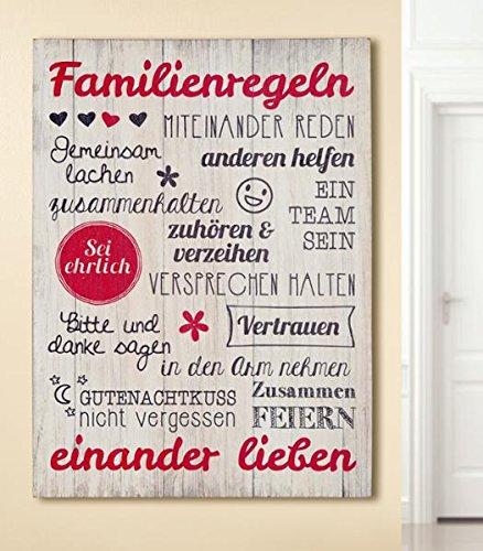 Bild Weisheit Familienregeln creme rot/schwarz Höhe 50 cm, Wandobjekt