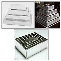 4 Tier Rectangle Multilayer Birthday Wedding Anniversary Cake Tins Pans