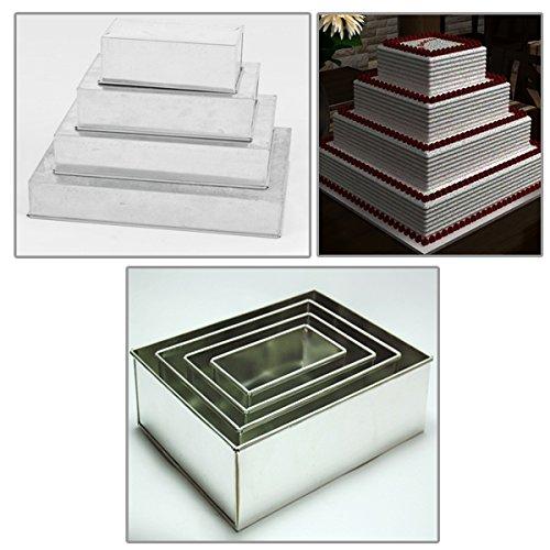 EUROTINS rectangle à 4 étages multicouche d'anniversaire de mariage anniversaire gâteau Boîtes Poêles