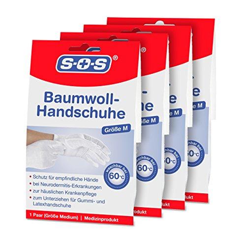 SOS Baumwoll-Handschuhe (4 Paar) - Schutz für empfindliche Hände (Baumwoll-handschuh)
