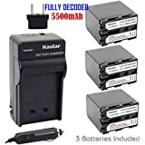 Kastar Battery (3-Pack) And Charger Kit For Sony NP-QM91D NP-QM71D Work With Sony CCD-TR108 TR208 TR408 TR748 TRV106 TRV107 TRV108 TRV116 TRV118 TRV150 TRV230 TRV235 TRV238 TRV239 TRV240 TRV245 TRV250 TRV255 TRV260 TRV265 TRV270 TRV280 TRV285 TRV300 TRV32