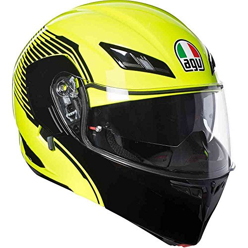 Desmontable Casco Modular AGV Compact ST Vermont Amarillo Fluo Negro Yellow Black Flip Up Helmet XL