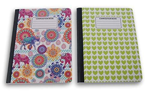 Floral/Herzen Gemustert breit liniert 100Blatt Zusammensetzung Notebooks-(Pack von 2) (In Bulk Zusammensetzung Notebooks)