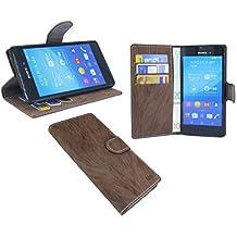 Sony Xperia M4Aqua//libro Funda Móvil Case Funda Wallet Libro con Función Atril en marrón @ Energmix