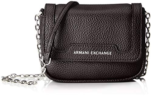 Armani Exchange Damen Small Crossbody Bag Umhängetasche, Schwarz (Black), 12x5x16 cm