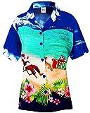 LA LEELA Aloha Party Hawaii Bluse Top-Frauen Shirt Christmas Santa Claus Jingle Bells X-Mas Tree Weihnachten Blau_X185 M - DE Größe :- 44-46