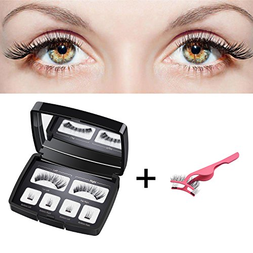 (HBselect Magnetische Wimpern 3D falsche künstliche Wimpern mit magnetischem Pinzette Cliphandgemachte magnetic eyelashes Aufbewahrungsbox mit Spiegel schwarz (1 Paar 6 Stück))