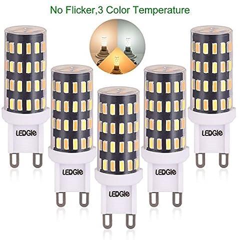 [Nouvelle Version] LEDGLE 5x Ampoules LED G9 6W Sans Scintillement 60-LED Equivalent à Ampoule Halogène 60W, 390-420lm 3 Températures de Couleur-Blanc Chaud /Blanc Naturel/ Lumière Naturelle