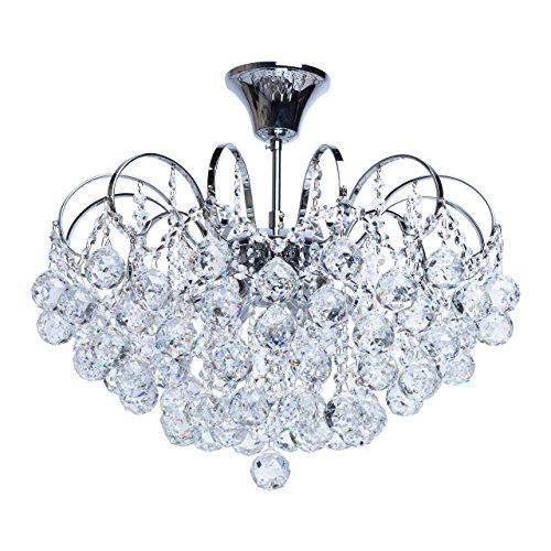 Lampadario splendido cromo gocce cristallo decorativo elegante barocco in soggiorno o salotto 6*60W E14-escl