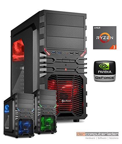Gamer PC System AMD, 3-1200 (Ryzen) 4x3,1 GHz, 8GB RAM, 1000GB HDD, nVidia GTX1050 Ti -4GB, Windows 10 (Testversion) Gaming Computer Büro Multimedia dercomputerladen