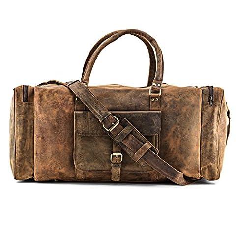 A.P. Donovan - sac de Voyage de cuir de buffle Hommes - beaucoup d'espace (break) - pannier, Weekender sans roues pour accrocher - grande 65cm
