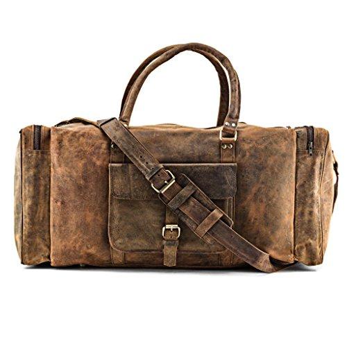 A.P. Donovan - Herren-Reisetasche aus Büffel-Leder - viel Platz (Kurzurlaub) - Hand-Gepäck-Tasche, Weekender Leder - Sporttasche - groß - 65cm