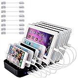Evfun Stazione di Ricarica USB, Multi Caricatore per Smarthone &Tablet (con 8 Linee)