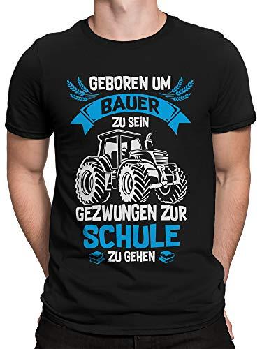 vanVerden Herren T-Shirt Geboren um Bauer zu Sein - Geschenk für Traktor Fahrer, Größe:L, Farbe:Schwarz/Blau