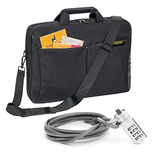 """PEDEA """"Lifestyle"""" Notebooktasche für 15,6 Zoll (39,6cm) mit Zubehörfach/Schultergurt mit Notebookschloss, gelb"""