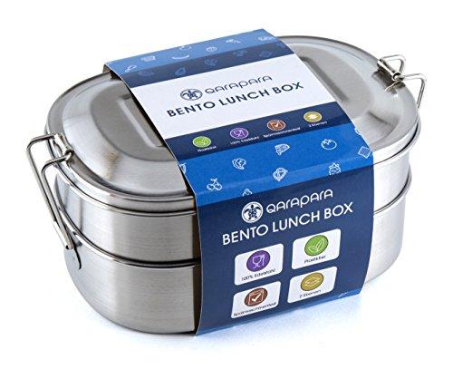 Qarapara Edelstahl Lunchbox/Brotdose im Bento Box Stil mit 2 Ebenen und Unterteilung der Oberen Ebene in 2 Fächer, für Kinder und Erwachsene, plastikfrei und schadstoffrei (Edelstahl Mit Zwei Ebenen)