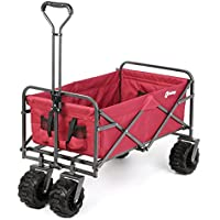 Sekey Plegable Carretillas de Carrito Plegable (Mano Carro außenschubk Arre Folding Wagon Exterior jardín Colgante Carro Playa Apto para Todo Terreno, Color Rojo