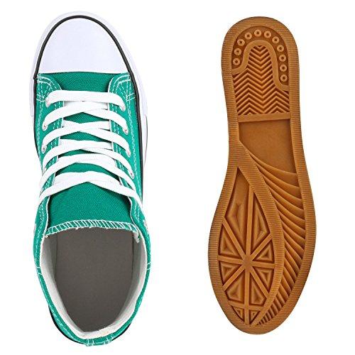 Bequeme Canvas Sneakers | High-Cut Modell | Basic Freizeit Schuhe | Viele Farben und Muster | Gr. 36-42 Grün