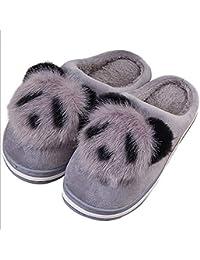 2c1bd828f0620 SCYTSD Pantoufles Femmes Chaudes Belle Bande Dessinée Panda Coton Pantoufles  Maison D intérieur Non-