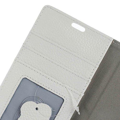 Premium Echtleder Litchi Haut Textur Brieftasche Tasche Tasche Flip Stand Cover Shell mit Card Slots Für Huawei Nova Plus ( Color : Black ) White