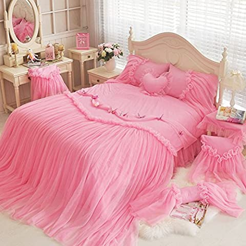 MeMoreCool Bedding Sets Princess Pink Beautiful Lace Bed Skirt 3 Pieces Healthy Cotton Twin