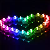 Little ants Submersible LED Light Waterproof Flameless Tea Candles Battery Operated Tealights Decor for Home, Wedding and Parties, Round Shape, 12 PCS. (Multicolor)