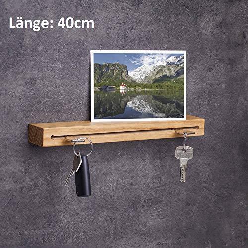 Handgefertigte Eichen Möbel (WOODS Schlüsselbrett Holz in 40cm - viele Varianten/Holzarten (in Bayern handgefertigt) Schlüsselhalter Eiche/Moderne Schlüsselleiste als Board Schlüssel-Aufhänger/Eichenholz)