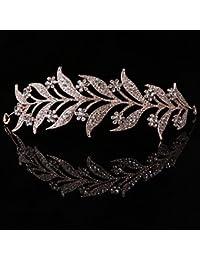 SimpleLife Leaf Tiara Headband, Headpiece Medieval– Leaf Simulado Pearl Diadema Cabello Tiara Corona Novia Tiara Princesa Joyería Mujer Lujo Decoración de Reina