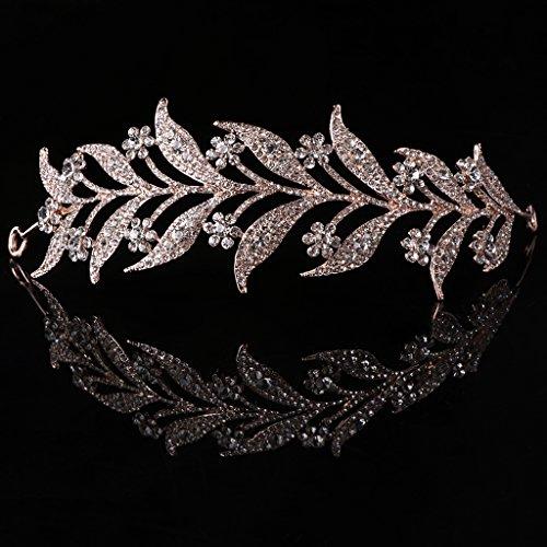 a Stirnband, mittelalterliche Kopfschmuck - simulierte Perle Stirnband Haar Tiara Krone Braut Hochzeit Tiara Prinzessin Schmuck Frauen Luxus Queen Decor ()