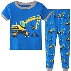 Niños pijama conjuntos manga corta Dinosaurio bebé Pijamas niños ropa de dormir tamaño 5 años 100% algodón de 2 pieza