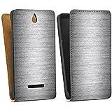 Sony Xperia E Tasche Hülle Flip Case Metal Look Silber Glitzer Metall