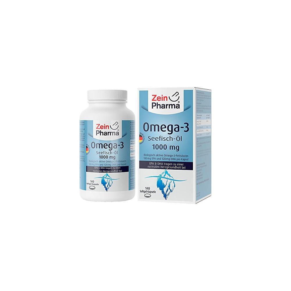 Zeinpharma Omega 3 Kapseln 140 Softgel Kapseln Mit Je 1000 Mg Fischl Davon 180 Mg Epa 120 Mg Dha Mit Wertvollen Fettsuren Und Vitamin E Hergestellt In Deutschland