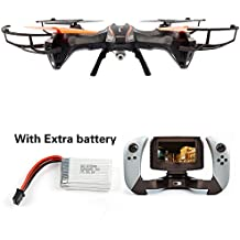 Udi U818S Large 6-Axis Gyroscope RC Quadcopter Drone Black Color with FPV Camera & WIFI-818 Real-Time FPV Remote Control witrh Extra battery