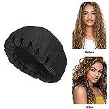Womdee Hot Head Bonnet thermique sans fil pour cheveux naturels ou abîmés Noir