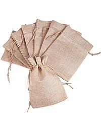 Pandahall Elite-–Lote de 20 bolsitas/saquitos de empaquetado en tejido con cordón, rosa flamenco, 13,5x 9,5cm, tela, Tan 2, 18x13cm